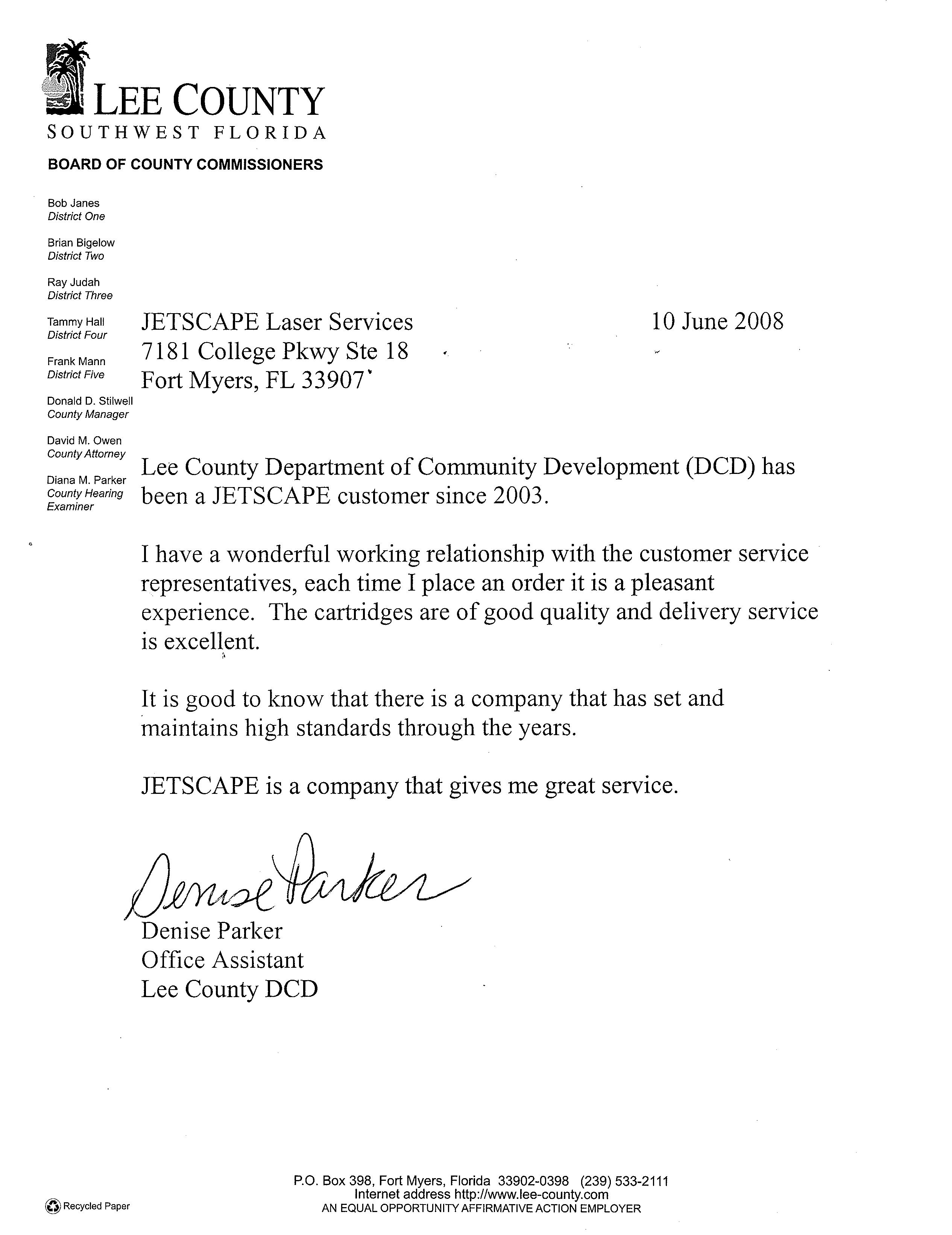 Dept of Community Dev Testimonial