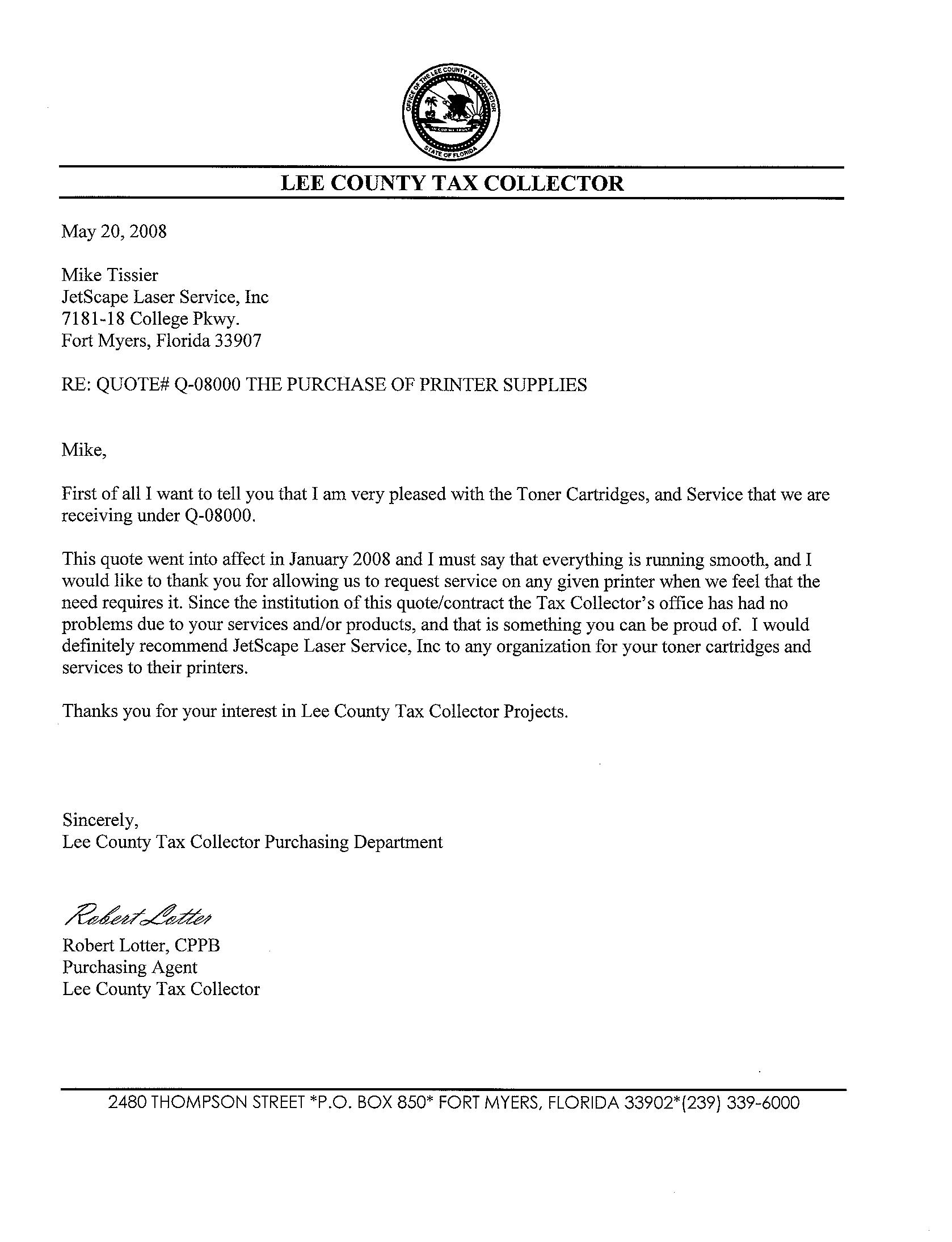 Lee County Tax Col Testimonial